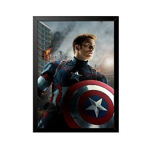 Quadro Poster Capitão América Chris Evans Escudo 33x23cm