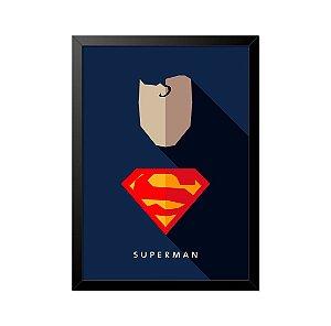 Quadro Poster Super Homem Superman Minimalista 33x23cm