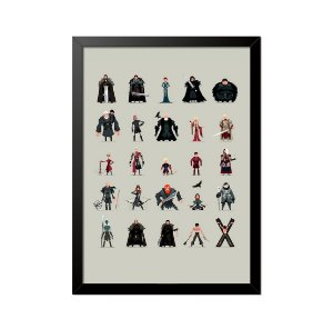 Quadro Poster Game of Thrones Personagens 33x23cm