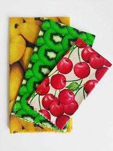 Tecido de Cera estampa Salada de Frutas {Kit com 3 P/M/G}