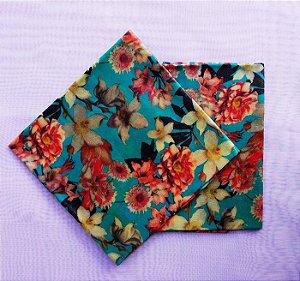 Floral Azul {Tecido de Cera * Kit com 2 P}