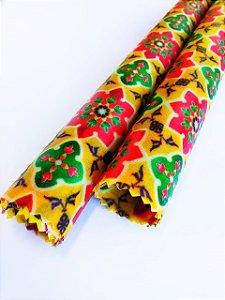 Tecido de Cera estampa Mandala Flores Amarelo {Kit com 2 P}