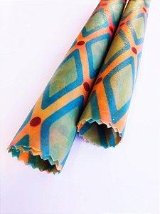 Losango Azul & Rosa {Tecido de Cera * Kit com 2 P}