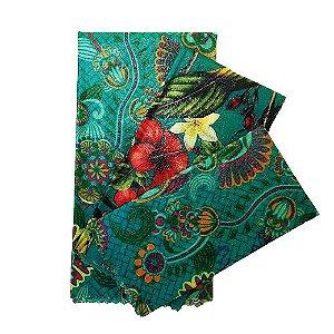 Pano de Cera estampa Mandala Azul & Lírios fundo Azul {Kit com 3 P/M/G}