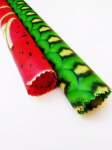 Tecido de Cera estampa Kiwi & Melancia {Kit com 2 P/M}