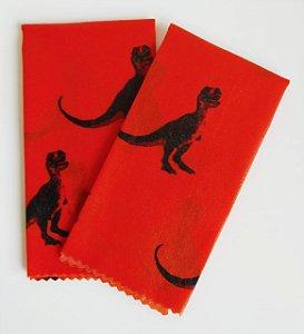 Tecido de Cera estampa Dinossauros fundo Laranja {Kit com 2 M}