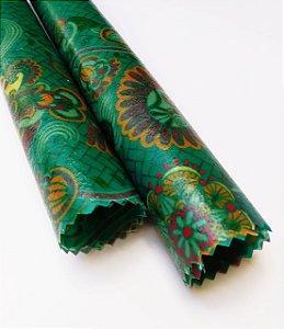 Tecido de Cera estampa Mandala Azul {Kit com 2 P}
