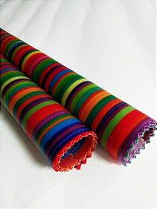Tecido de Cera estampa Arco Iris {Kit com 2 G}