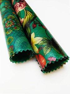 Tecido de Cera estampa Mandala & Flores Azul {Kit com 2 P/M}