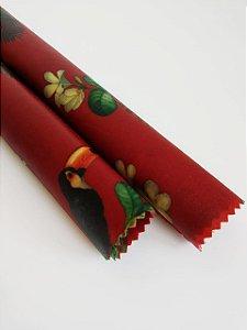 Tecido de Cera estampa Papagaio e Tucanos fundo Vermelho {Kit com 2 P}