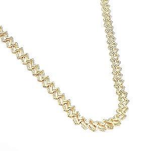 Corrente Choker Folheada a Ouro Medida 35cm mais extensor de 5 cm