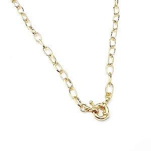 Gargantilha Folheada a Ouro no Elo Português com fecho Boia Medida 60cm
