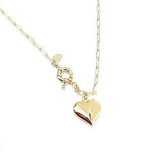 Gargantilhas Folheada a Ouro Corrente Cartier de 50cm com fecho Boia e Pingente de Coração