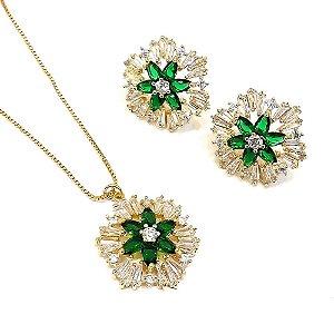 Conjunto folheado a ouro com zircônia branca e verde  Gargantilha com 40 cm e brinco fixo