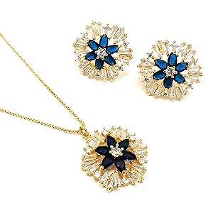 Conjunto folheado a ouro com zircônia branca e azul  Gargantilha com 40 cm e brinco fixo