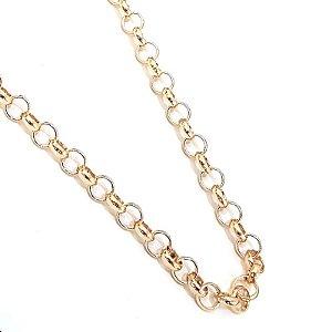 Gargantilha folheada a ouro na corrente elo português  Medida 70 cm