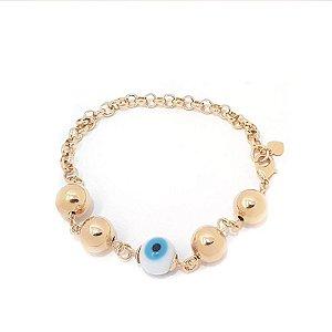 Pulseira folheada a ouro com bolas e olho grego  Tamanho 18 cm mais extensor
