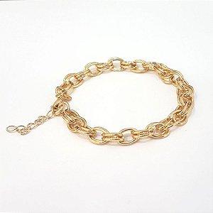 Pulseira folheada a ouro toda na corrente TAM 18 cm e extensor