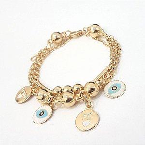 Pulseira folheada a ouro com varias correntes e pingente olho grego  TAM 18 cm