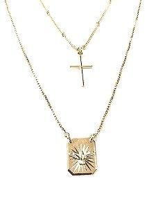 Gargantilha dupla folheada a ouro com crucifixo e pingente Espírito Santo