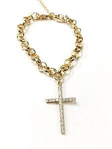 Pulseira elo português folheada a ouro com pingente Cruz de zircônia