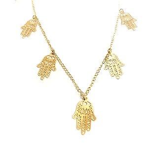 Gargantilha folheada a ouro com pingentes de mão de Fátima