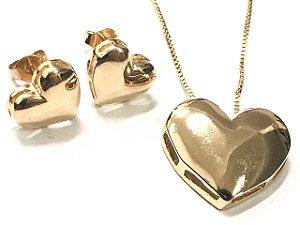 Conjunto Folheado a Ouro Formato Coração