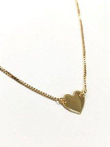 Gargantilha chocker medalha coração no ouro 18k 35cm