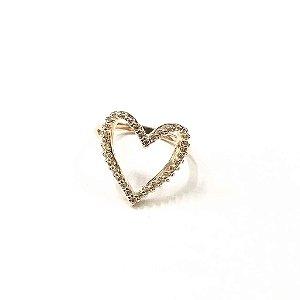 Anel em Formato Coração Folheado a Ouro Cravejado com Zircônias