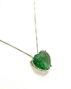 Colar Folheado a Ouro com Pingente de Zircônia em Formato de Coração Verde