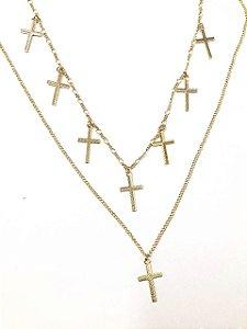 Gargantilha Dupla Folheada a Ouro com Pingentes de Cruz
