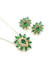 DUPLICADO - Conjunto folheado a ouro com zircônia branca e verde  Gargantilha com 40 cm e brinco fixo