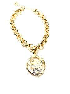 Pulseira folheada a ouro com pingente de zircônia