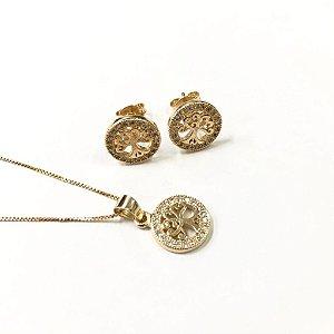 Conjunto folheado a ouro com pedras de zircônia