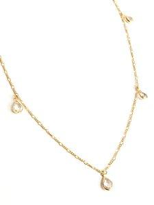 Gargantilha folheada a ouro 18k com pedras de zircônias 80cm