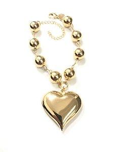 Pulseira folheada a ouro com bolas e pingente de coração
