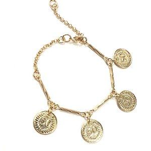 Pulseira folheada a ouro com pingentes de moedas