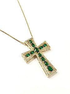 Gargantilha cruz  folheada a ouro com pingente cravejado de zirconia