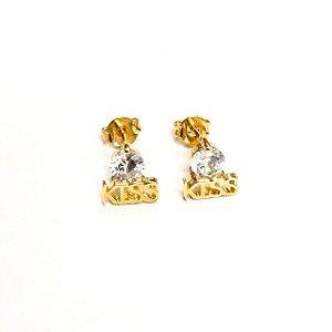 Brinco Folheado a Ouro com  Pedras de Zirconia