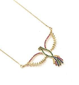 Gargantilha folheada a ouro com micro zirconias coloridas