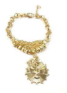 Pulseira folheada a ouro com pingente espirito santo