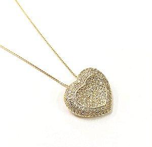 Gargantilha folheada a ouro com pedras de zirconia