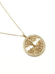 Gargantilha Folheada a Ouro com pingente de arvore da vida cravejado de zirconia