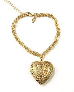 Pulseira folheada a ouro com pingente de coração