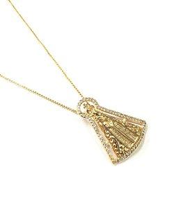 Gargantilha Folheada a Ouro com Pingente de  Nossa Senhora cravejado com zirconias