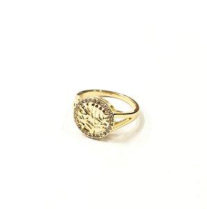 Anel folheado a ouro de arvore da vida cravejado com zirconias
