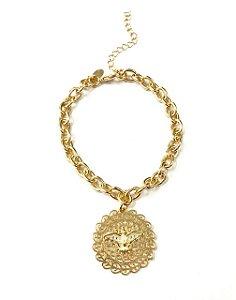 Pulseira folheada a ouro com pingente do espirito santo cravejado com micro zirconias