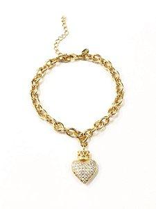 Pulseira folheada a ouro com pingente perfumeiro cravejado com zirconias