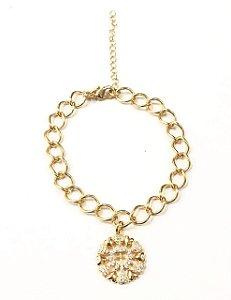 Pulseira folheada a ouro com pingente micro cravejado com zirconias
