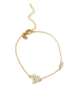 Pulseira folheada a ouro com pingente de coracao cravejado de zirconia